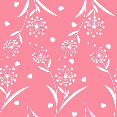 Valentines floral seamless pattern with dandelion flowers with heart shaped feather. For Valentines day concept.