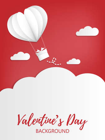 Valentines Day background with paper cut white heart shape hot air balloon with hanging gift box in red sky with cloud background. Concept of love and valentine day.