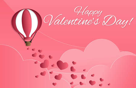 Vector illustration of red hearts falling from hot air balloon on pink sky and clouds background with Happy Valentines Day!. Concept of love and Valentines day, paper art style. Ilustracja