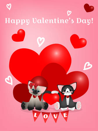 Vector illustration of two cute cats with red heart and Happy Valentines Day text on pink background.