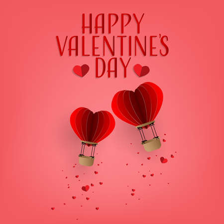Vector illustration of red paper hearts falling from hot air balloon on sky with Happy Valentines Day text. Concept of love and valentines day, paper art style.