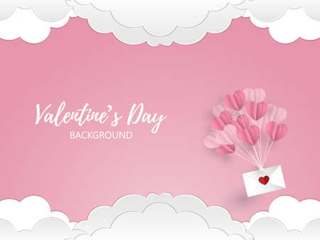 Vector illustration of pink tone balloons in a heart shape hang envelope floating on pink sky and white cloud background. Concept of love and valentine day, paper art style.