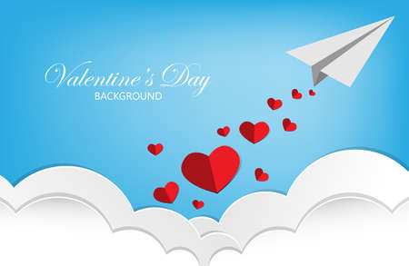 Valentines Day background with red paper hearts falling from paper plane on blue sky and white cloud background.