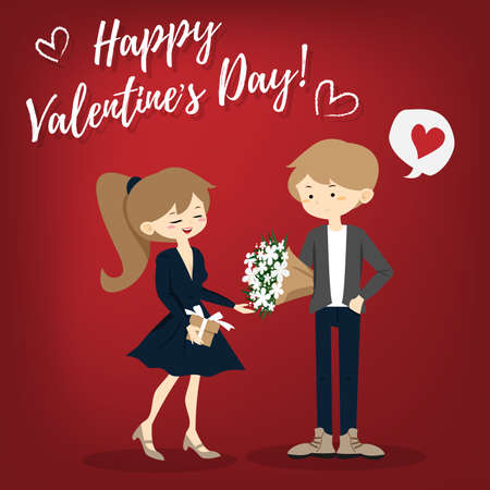 Valentines Day background with cute couple received a beautiful bouquet in happy moment.