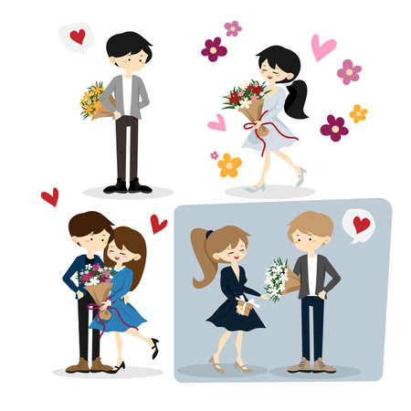 Flat happy loving couple illustration isolated on white background. Young people in love portrait. For Valentine day card design with cute couple received a beautiful bouquet in happy moment.