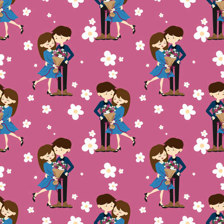 Valentine's Day seamless pattern with cute couple received a beautiful bouquet in happy moment.