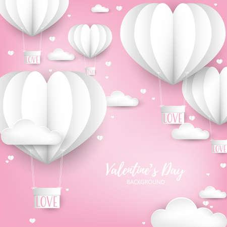 Fondo de San Valentín con globo de aire caliente en forma de corazón blanco cortado en papel con cuadro colgante con texto AMOR.