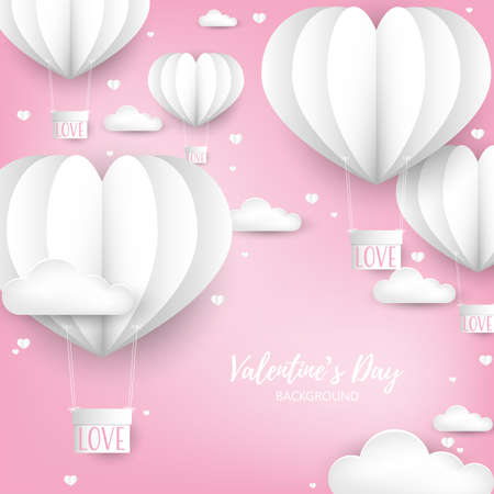Valentine's Day background with  paper cut white heart shape hot air balloon with hanging  box with LOVE text.