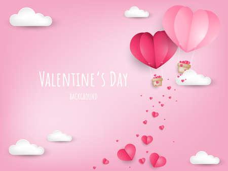 Valentinstag Hintergrund mit Papier geschnitten Herzform Heißluftballon und kleines rosa Herz am Himmel mit Wolke. Konzept der Liebe und des Valentinstags, Papierkunstart.