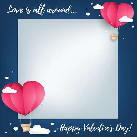 Valentine's Day background with paper cut heart shape hot air balloon and little white heart on the sky with cloud. Concept of love and valentine day, paper art style.