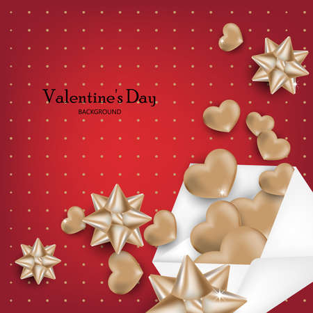 Valentines Day background with gold hearts out from envelope on red background. Concept of love and Valentines Day.