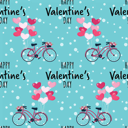 Valentine's Day seamless pattern with pink bicycle with heart shape balloon and with wicker basket full of spring flowers and Happy Valentine's Day text. Concept of love and valentine day. 矢量图片
