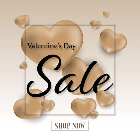 Valentines day sale background with gold Heart, fream with Valentine's Day sale and Shop now. Banners , Wallpaper, invitation, posters, brochure,flyers , voucher discount.