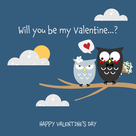Valentine's Day background with cute couple owls with will you be my valentine? and Happy Valentine's Day text.