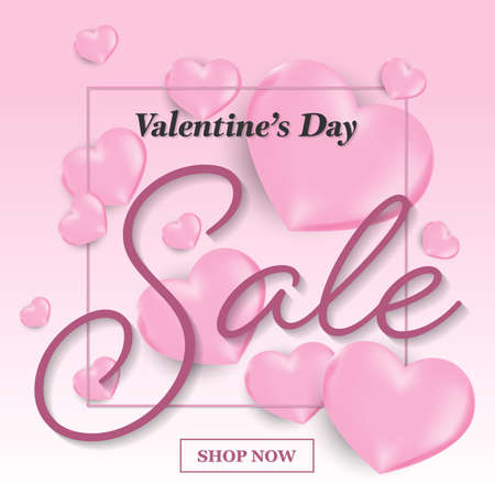 Valentines day sale background with pink heart, fream with Valentine's Day sale and Shop now. Banners , Wallpaper, invitation, posters, brochure,flyers , voucher discount.