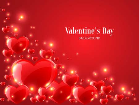赤の背景に現実的な赤のハートとバレンタインデーの背景。 ベクターイラストレーション