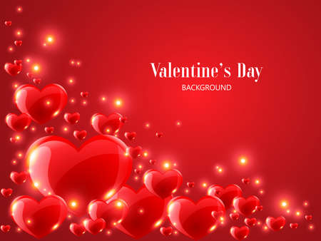 Valentine's Day background with realistic red heart on red background. Vetores