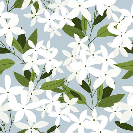 Vector seamless pattern with jasmine flowers. Design for fabrics, wallpaper, web,textiles, paper. Floral ornament