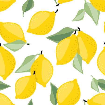 Vector seamless pattern of Lemon and leaves.