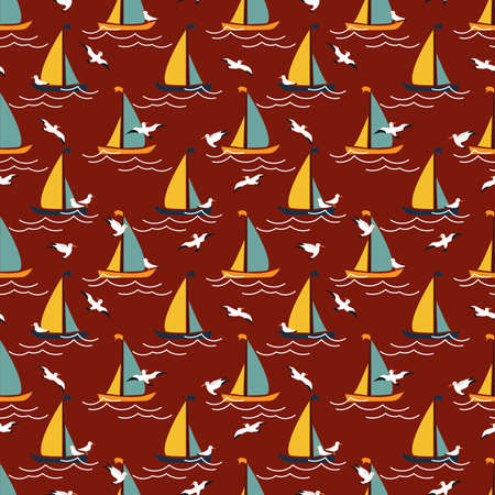 Seamless pattern with sailing yachts and seagulls. Summer season background.