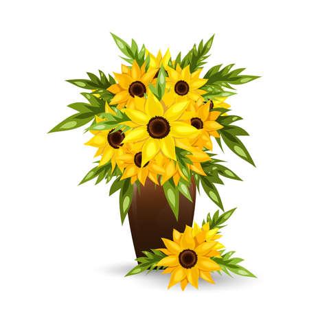 Sunflower flowers in a pot. Vector illustration.
