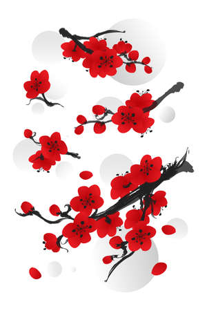 Spring flower Collection of Plum blossom in Oriental style paintings. Vector illustration. Banco de Imagens - 121283585