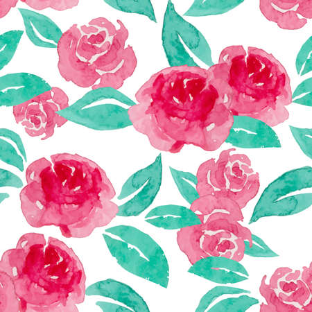 Red rose seamless pattern with wotercolor of rose. Ilustração