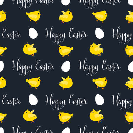 Easter seamless pattern design with cute Chicks, Easter eggs and Happy Easter text.