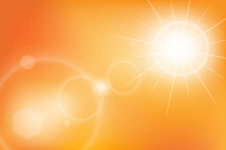 Summer background with burst a magnificent bright yellow summer sunburst with solar rays flare. Vector illustration. 일러스트
