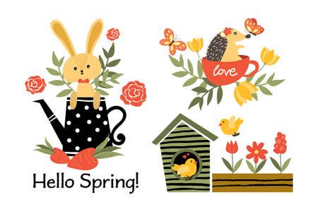 Hello Spring collection.Vector illustration.