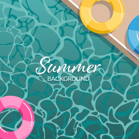 Summer background with swimming life ring in the pool