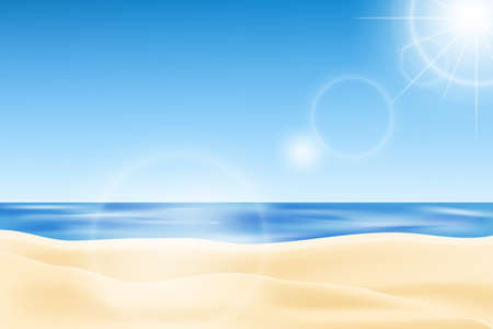 Summer background, vector illustration of the beach with blue sky and sunlight. Seaside view.