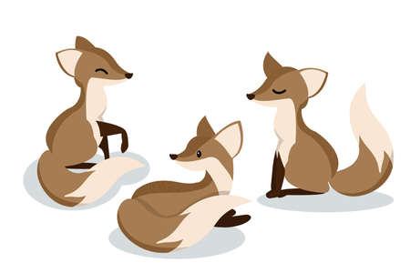 Set of cute cartoon foxes. Vector illustration.