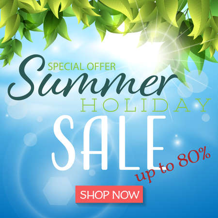 Summer holiday sale banner template with leaves with solar rays flare. Vector illustration.