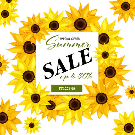Summer Sale banner template with sun flower and leaves. Vector illustration. 向量圖像