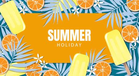 Sommerferien-Banner-Design mit Eis am Stiel, Blättern und Orange für die Sommersaison. Vektor-Illustration.