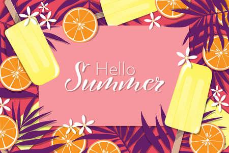 Sommerferien-Banner-Vorlage mit Eis am Stiel, Blättern und Orange für die Sommersaison. Vektor-Illustration.