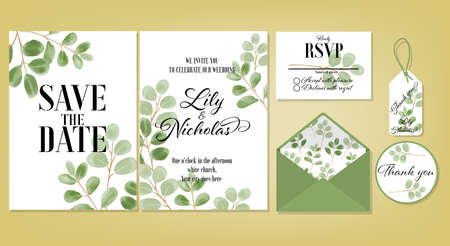 Wedding floral template collection of Wedding invite, rsvp, thank you label save the date card Design with Cute leaves watercolor. Vector illustration.