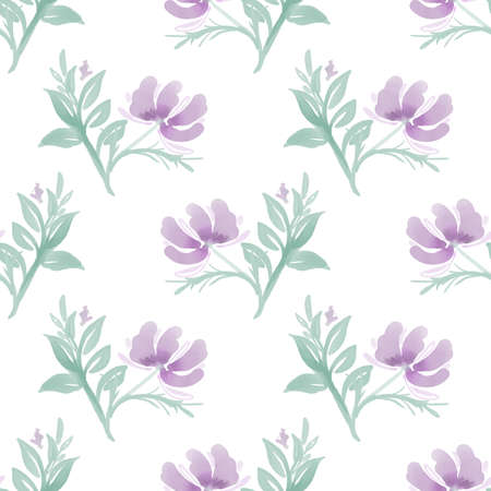 Seamless pattern with cute flower on white background. Vector illustration  in watercolor style.