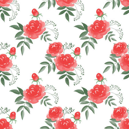 Seamless pattern with Rose flower branches with leaves on white background. Vector illustration in watercolor style.