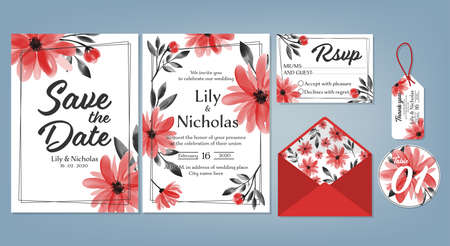 Wedding floral template collection of Wedding invite, rsvp, thank you label save the date card Design with Cute flower watercolor. Vector illustration.