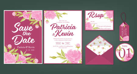 Wedding floral template collection of Wedding invite, rsvp, thank you label save the date card Design with Cute pink roes with leaves watercolor. Vector illustration.