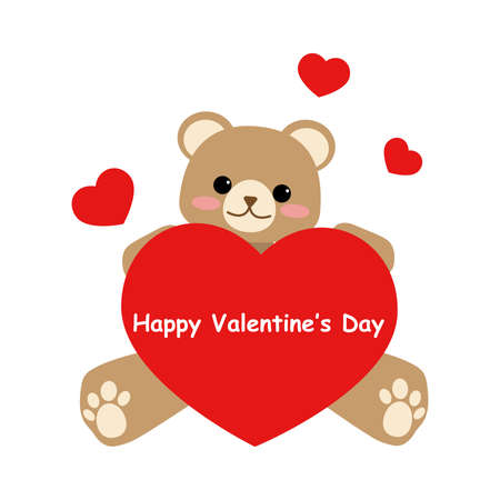 Cute bear holding red heart with Happy Valentines Day text on white background. Vector illustration.