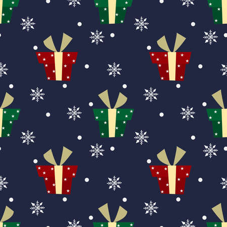 Christmas holidays season seamless pattern of cute red and green gift boxes with star pattern and snowflakes on blue background. Vector illustration. Ilustracja