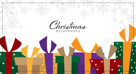 Christmas holidays season background of cute colorful gift boxes and snowflakes on white background with your copy space. Vector illustration. Ilustracja