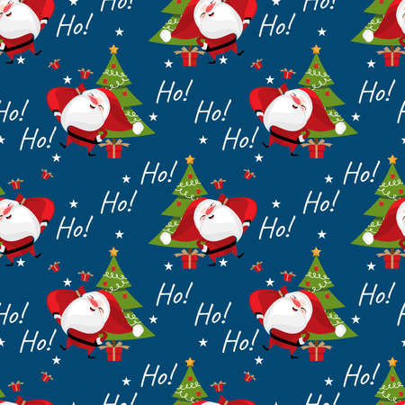 Christmas holidays season seamless pattern of Santa Claus holding red bag with gift boxes, Christmas tree, star and Ho! Ho! Ho! text on blue background. Vector illustration design for greeting season.
