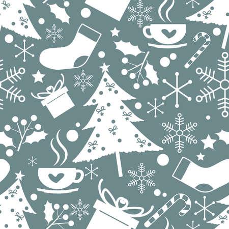 Christmas holidays season seamless pattern of cute Christmas elements on blue background. Vector illustration. Ilustracja