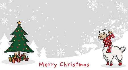 Christmas holidays season background of cute alpaca in winter costume with Christmas tree and gift boxes on snow hill with snowflakes and Merry Christmas text. Vector illustration in doodle style.
