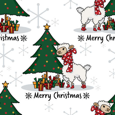 Christmas holidays season seamless pattern of cute alpaca in winter costume with Christmas tree and gift boxes on white background with snowflakes. Vector illustration design for greeting season.
