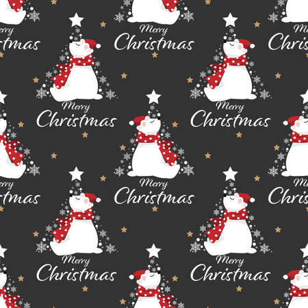 Christmas holidays season seamless pattern of cute polar bear in Santa hat and red scarf with snowflakes and star in Christmas tree shape and Merry Christmas text on black background with tiny gold stars. Vector illustration design for greeting season.